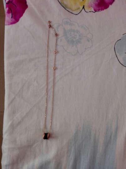 自恋猫 小众韩版黑陶瓷项链钛钢小红人弹簧吊坠女锁骨链简约玫瑰金潮网红 536 黄金色+白陶瓷项链 晒单图