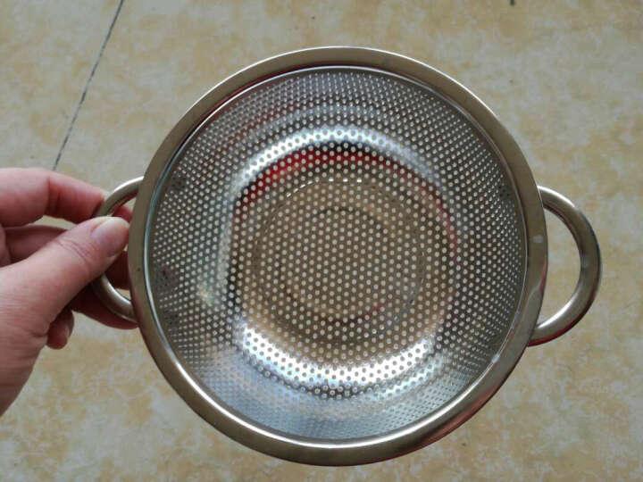 德勒 加厚不锈钢沥水漏盆果蔬盆洗米筛淘米篮洗菜盆 25.5cm尙宝盆三件套镀金 晒单图