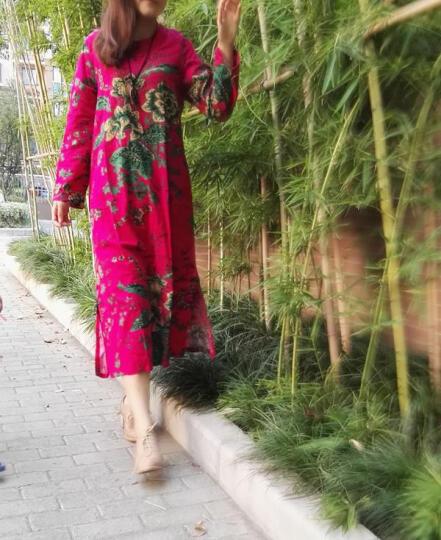 安娅诗连衣裙秋冬款复古民族风印花大码盘扣长袖棉麻连衣裙加绒加厚长裙打底裙 加绒玫红色 均码 晒单图