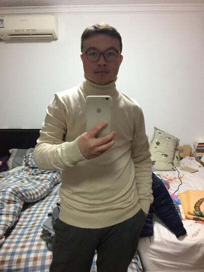 新款秋款男士高领针织衫线衣毛衣纯色 时尚男装XR204 酒红色 XXL 晒单图