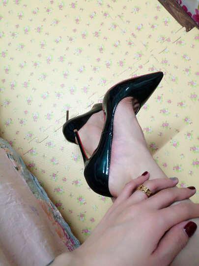 欧美新款秋季超细跟12CM裸色高跟鞋夜店浅口OL红底鞋尖头单鞋女鞋 白色 38 晒单图