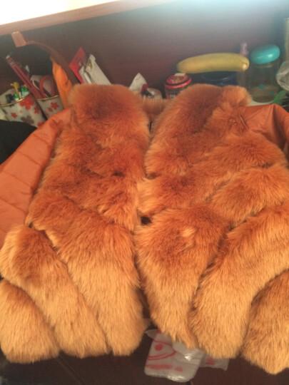 法泊美2017冬季新款仿羊剪绒女装皮草外套一体狐狸毛领羊毛大衣中长款 820 巧克力色 S 晒单图