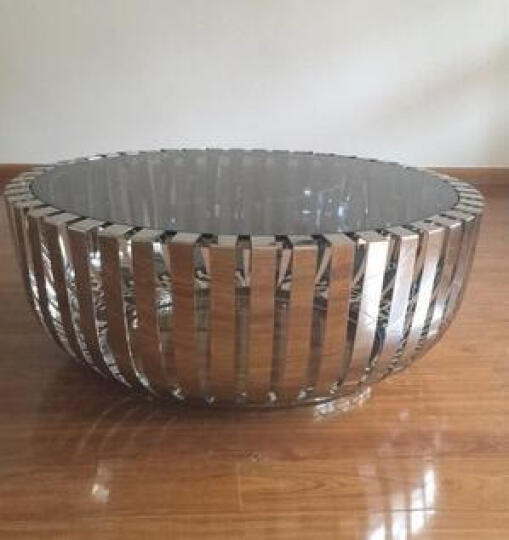 惠优家园(GRANDFAVORFURNITURE) 简约现代客厅圆形钢化玻璃不锈钢茶几 小尺寸75*75*50cm 晒单图