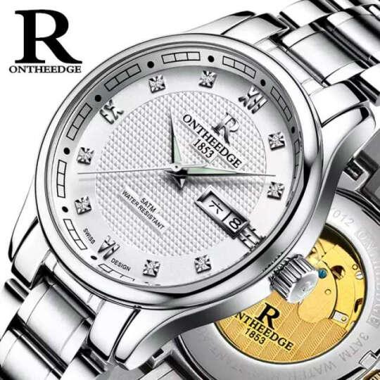 瑞之缘手表男士手表全自动镂空机械表防水夜光男表双日历商务腕表 RZY015金底金边 晒单图