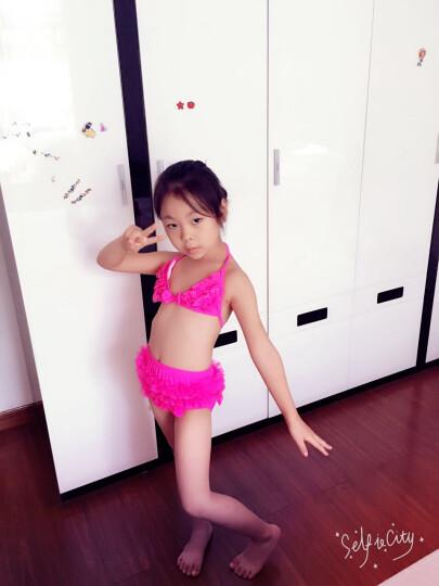 2016儿童婴幼比基尼宝宝可爱三件套装女小中大韩版分体游泳衣 艾晴桃红色 XL 晒单图