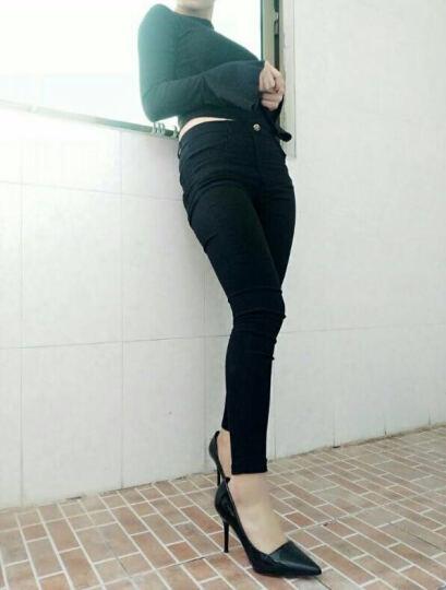 摩伊拉2017新款尖头细跟中跟单鞋女漆皮浅口通勤OL工作高跟女鞋 白色 9CM 34 晒单图