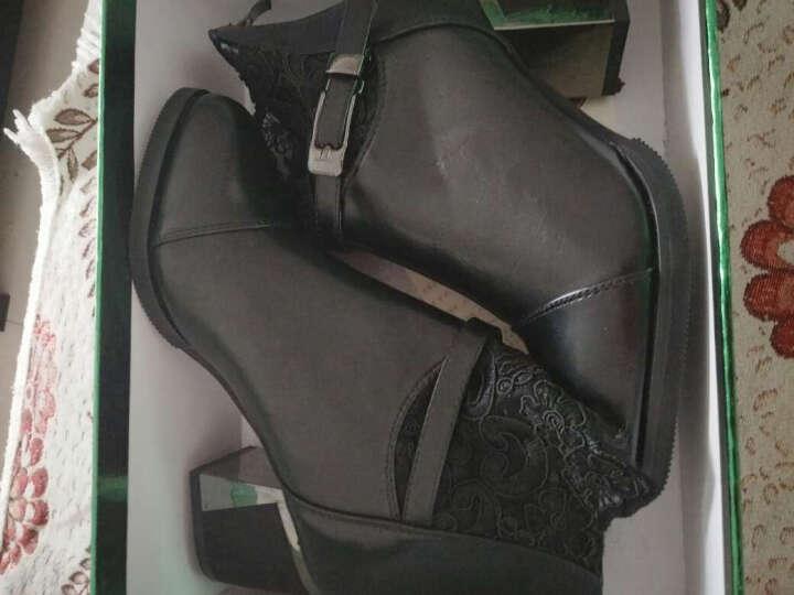 莱卡金盾短靴马丁靴女中筒靴英伦秋冬新款圆头粗跟女靴子中跟防水台加绒保暖冬靴防滑时装靴 棕色1882 37码 晒单图