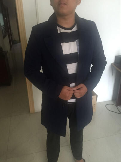 欧洲象春装新款青年毛呢外套男呢子大衣学生中长款衬衫呢料港风男神风衣抗皱免烫韩版修身大码男装 毛呢料/酒红色-F5201 XL 晒单图