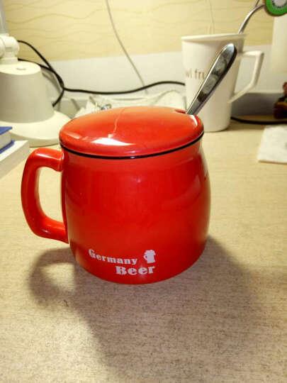 千度尚品 zakka日式复古陶瓷杯 牛奶茶杯陶瓷杯子水杯咖啡杯马克杯带盖带勺 英文色釉复古杯红色+瓷盖+408钢勺 晒单图