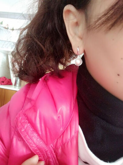 黛米 淡水珍珠耳钉 珍珠耳饰 珍珠耳环 强光 珍珠耳环  白色 心梦耳环 大颗粒8-9mm 晒单图