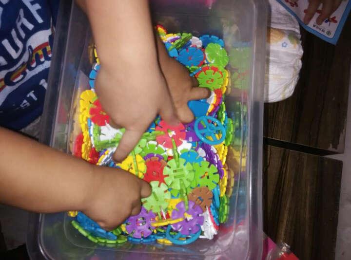 益智玩具塑料积木 幼儿乐园雪花片拼插搭构建片 儿童算数字学习 数字雪花片200G袋装送车轮 晒单图