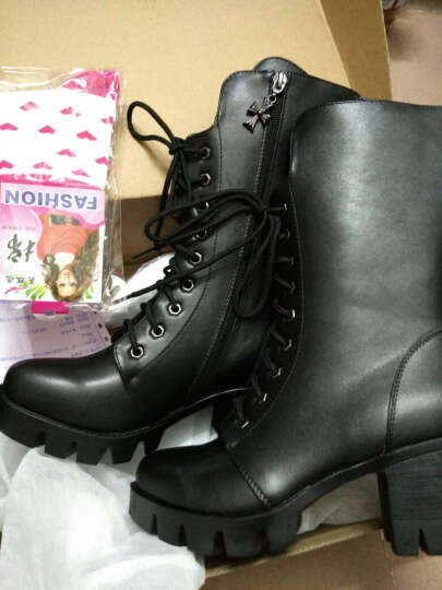 华洛威秋冬新款女靴中跟短靴女时尚粗跟马丁靴防水台中筒系带机车女靴子 黑色单里(印花玛莎拉蒂) 36 晒单图
