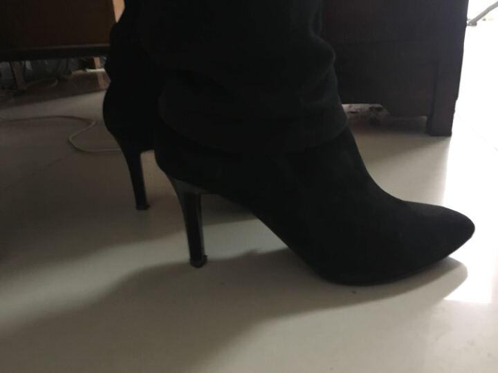 PTSON/百田森 新款秋冬季高跟细跟尖头踝靴软面牛皮羊皮时尚短靴女 黑色羊反毛皮 38 晒单图