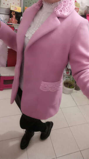 乔尼2017秋冬新款女装加厚羊毛大衣韩版毛呢大衣中长款修身毛呢外套女 皮粉带毛领 L 晒单图