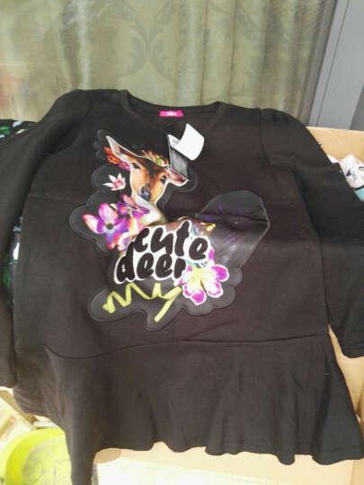Lagogo/拉谷谷 新款动物图案圆领长袖连衣裙 EDB931H325 黑色(05) S 晒单图