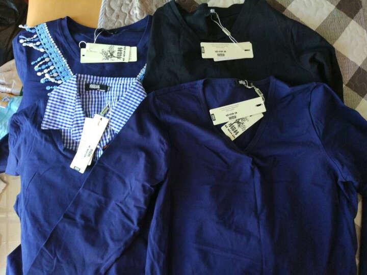 木棉林大码女装长袖衬衣假两件2016秋装新款纯棉卫衣拼接不规则上衣5008 深蓝色 3XL  建议160-180斤 晒单图