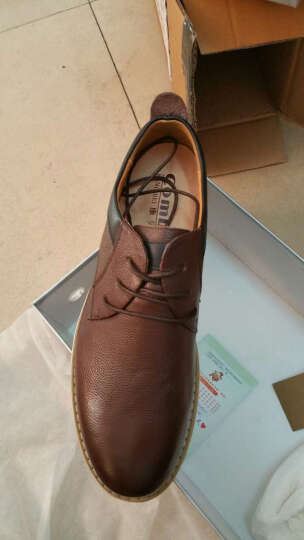 康贝男新款皮鞋头层牛皮工装鞋厚底大头商务休闲皮鞋英伦潮鞋 棕色 42 晒单图