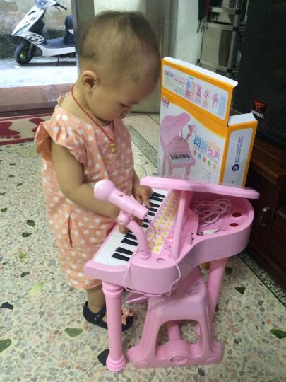 儿童电子琴音乐玩具女孩小钢琴带麦克风早教益智初学者2-6岁启蒙入门教程乐谱宝丽玩具 桌面版1504C白(赠送充电池套装) 晒单图
