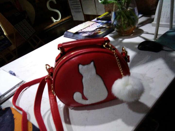 北包包2016韩版女士包包秋冬新款可爱女士单肩小包包小猫毛球斜跨包潮流手提小圆包斜挎包 红色 晒单图