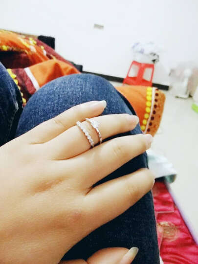美欧全 韩版饰品 珍珠锆石开口戒指 环食指 女士指环 树枝皓石款 金色 晒单图