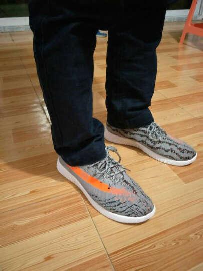 黑脚印2017透气男休闲网鞋学生百搭韩版椰子鞋男运动鞋 白色 41 晒单图