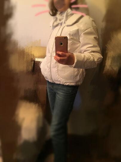 miamia冬季短款可拆卸帽设计加厚夹克式羽绒服女式休闲外套842817G 黑色 L/40 晒单图