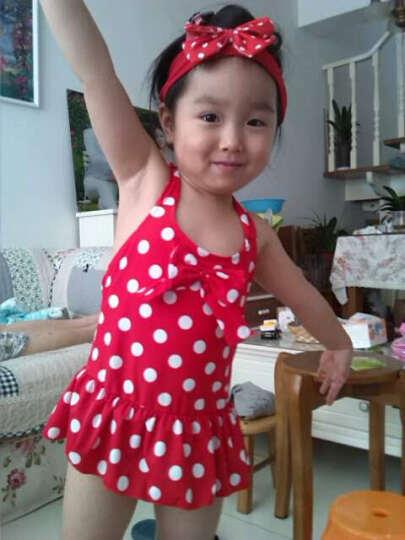 千日红新款温泉泳衣女 宝宝公主儿童小中童大童可爱波点连体裙式女童泳装 红色点点 XL 晒单图
