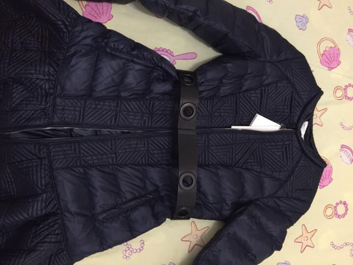 miamia春季女式圆领修身显瘦收腰轻薄长款羽绒服851851H 橙色 M/38 晒单图