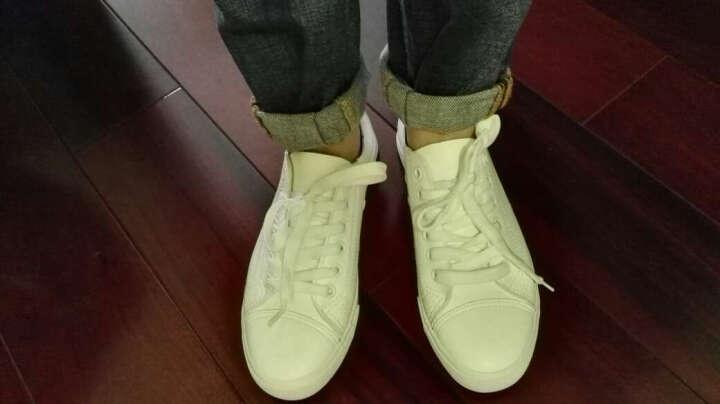热风春新款时尚板鞋女圆头学生平底休闲鞋系带中口单鞋 04白色 37偏大一码 晒单图
