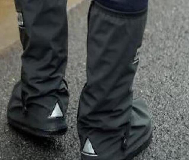雨易思透明时尚防雨鞋套防水防滑加厚底男女钓鱼鞋套沙滩鞋套 212高帮黑色 M 晒单图