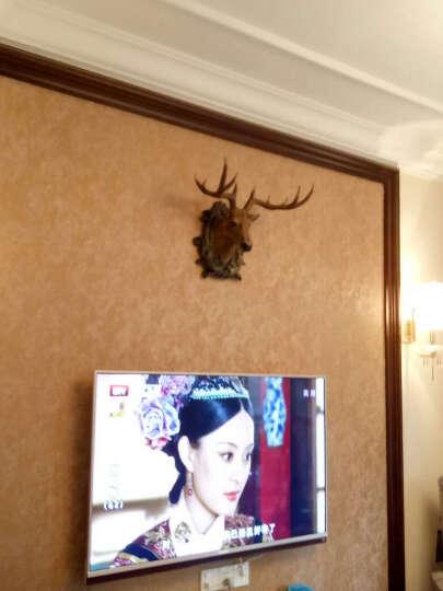 尚凡 鹿头壁挂壁饰 欧式客厅办公室玄关书房工艺品摆件 美式创意复古家居装饰品 酒吧墙壁墙饰挂件 中号棕褐色 晒单图