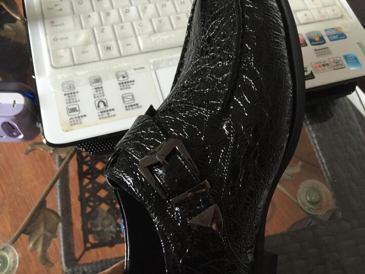 呈远皮鞋男士真皮皮鞋商务休闲鞋特大小码尖头鳄鱼纹英伦婚鞋 蓝色套脚增高鞋不加绒 41 晒单图