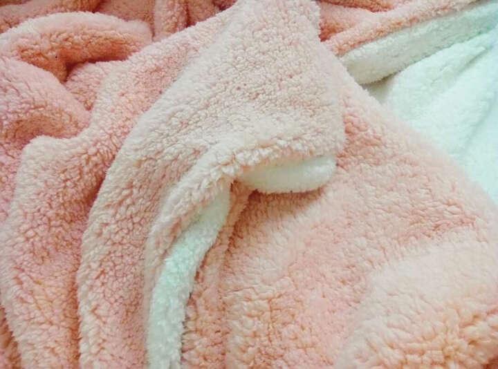 眠趣羊羔绒冬季毛毯加厚床层珊瑚绒毯子双人空调保暖盖毯沙发毯子 杏粉色双层毛毯 200cm*150cm 晒单图