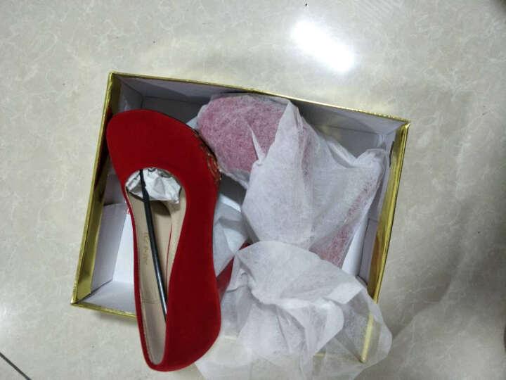 漫翠莎高跟鞋女2018春季新款红色婚鞋 12CM细跟性感公主单鞋绒面高跟鞋 粉红色(时尚款) 37 晒单图