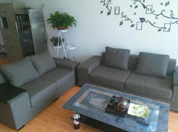 素色房间 沙发 北欧日式现代简约布艺沙发乳胶沙发转角沙发布艺可拆洗懒人沙发大小户型组合沙发 浅灰色 双人位沙发-送1个托盘 晒单图