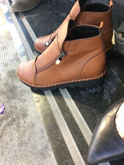盾狐新款内增高平底休闲鞋女圆头加绒厚底坡跟短靴女鞋冬 卡其 35 晒单图