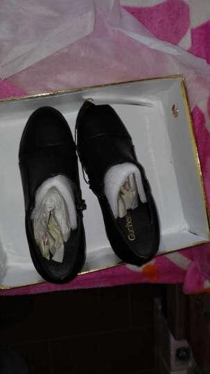 莱卡金顿女鞋子2018春季新款深口粗跟单鞋女秋冬防水台高跟鞋圆头工作皮鞋 黑色 36 晒单图