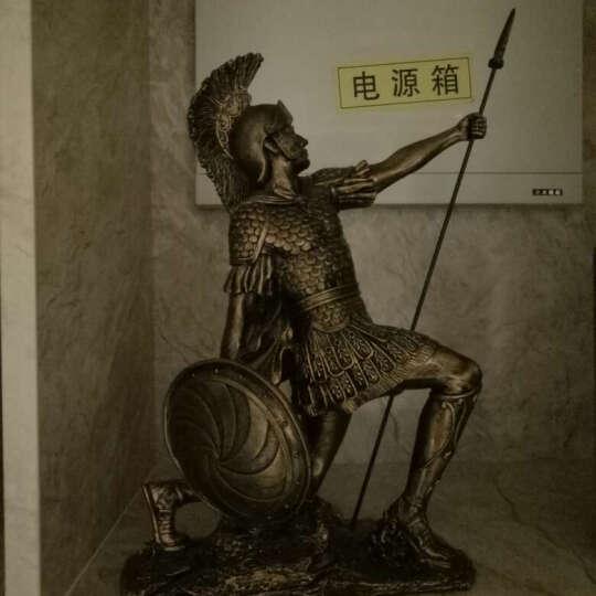 靓莎莎欧式创意人物雕塑复古罗马勇士装饰品摆件办公室客厅艺术品 防御勇士 古银 高 39CM 矛高 40CM 晒单图
