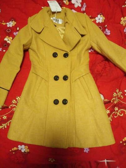 羊毛大衣女韩版中长款2017秋冬装新款修身显瘦时尚毛呢外套女装双排扣羊绒大衣 黄色 M 晒单图