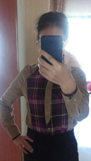 华伊格 春装新款灯芯绒衬衫英伦复古修身格子拼接长袖衬衣女 紫色格 S 晒单图