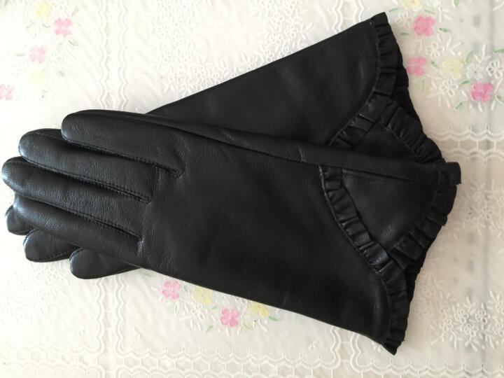 简洁依真皮手套 羊皮手套女式秋冬季开车骑车手套女士真皮手套花边保暖手套Y-16003 黑色 均码 晒单图