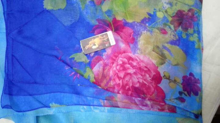 羚羊早安  春夏百搭海滩巾丝巾长款女士雪纺沙滩巾围巾披肩两用 sj117-草色恋青 晒单图