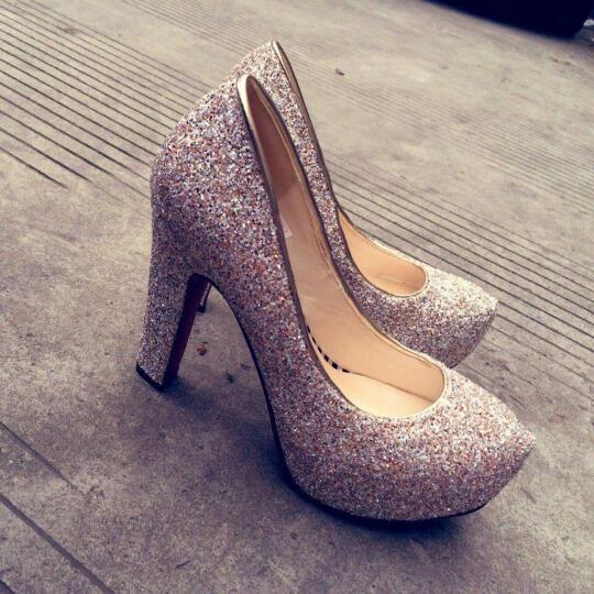 足迹缘新款高跟鞋女防水台高跟单鞋粗跟时尚婚鞋水晶鞋女 蓝色 38 晒单图