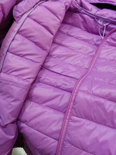 2017新款男女童冬装外套短款超轻便轻薄羽绒服儿童保暖纯色连帽棉上衣 玫红色 160尺码 晒单图