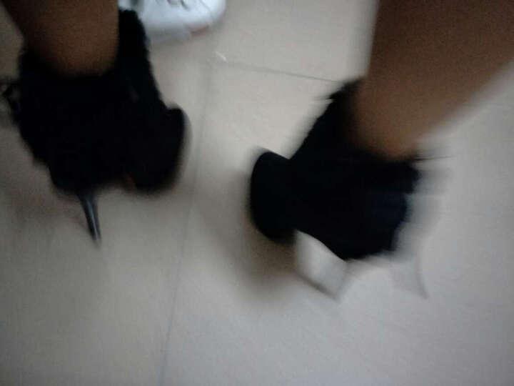 奥诗邦薇2017春秋冬新款雪地靴绒面绒毛性感夜店超高跟鞋细跟短靴女靴子 蓝色 35 晒单图