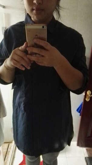 Amii[极简主义] 秋新贴袋落差下摆暗襟翻领秋大码衬衫11672123 米白 XL 晒单图