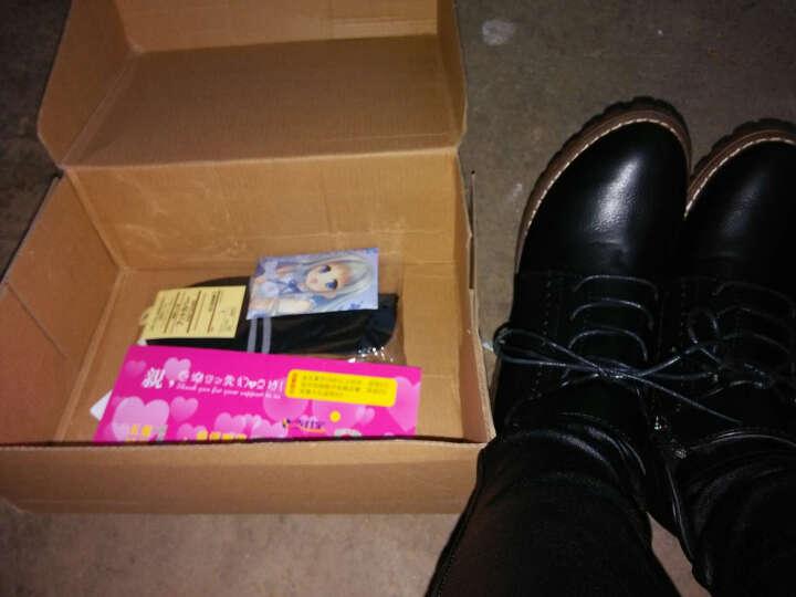 瑞欧短靴女2019秋冬季新款擦色圆头高跟鞋粗跟鞋防水台马丁靴女短靴 黑色 35 晒单图