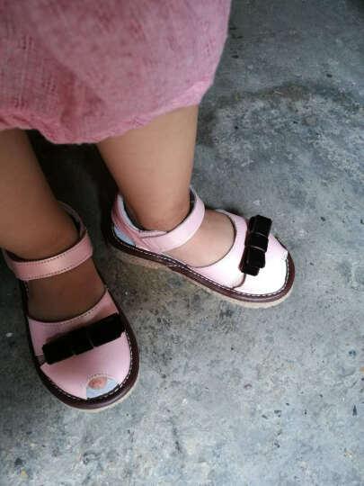 晴鹿宝宝凉鞋 头层牛皮小童鞋新款1-5岁男女鞋夏款牛筋软底女童沙滩鞋鱼嘴包头学步鞋 粉色8001 22码/内长13.8CM 晒单图