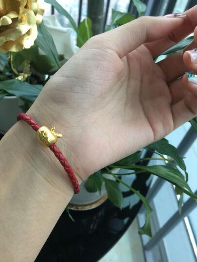雅宝福 足金圣诞苹果平安果黄金转运珠手链3D硬金红绳手链 红绳 长约170mm 晒单图