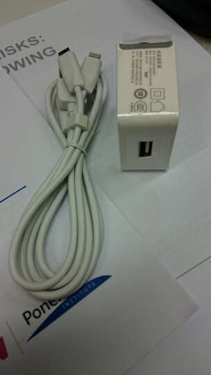 Capshi手机充电器2A+二合一(苹果/安卓)X1数据线套装1米白 iPhone6/7Plus华为/三星/小米红米note/oppo/vivo 晒单图